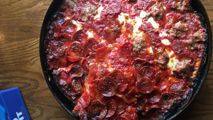 Deep Dish Pizza at Pequod's Pizza