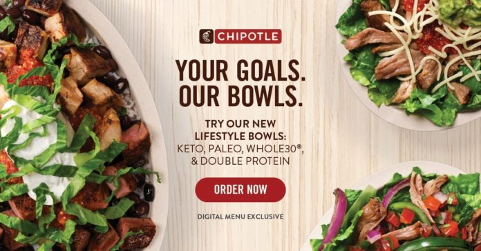 Chipotle Lifestyle Bowls featuring Paleo, Keto, Whole30 diet options