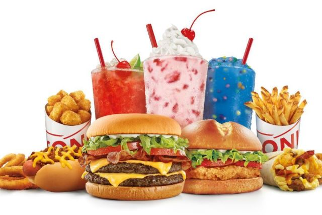 sonic burgers, fries, tots and drinks