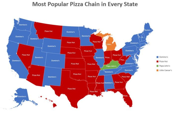 Most Popular Pizza chain in each state